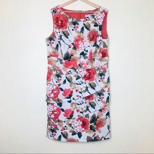 Dressbarn Tiered Floral Print Sleeveless Dress